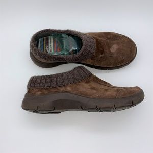 Dansko Eartha Brown Suede Knit Trim Clogs 39 8.5-9
